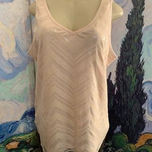 New York & Company Beige Sequin Mesh Lined Tank